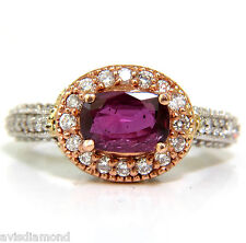 2.78CT NATURAL FINE PURPLE RED RUBY DIAMOND RING 14KT G/VS+