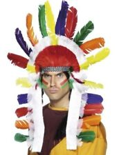 Unisex Long Indian Chief Headdress Sitting Bull Wild West Multi Coloured Stag Do