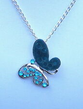 "Silver Tone and Shades of Blue Enamel Butterfly Pendant and 24"" Chain"