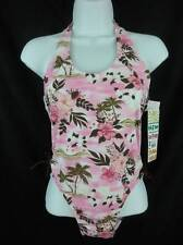 NWT Girls 16 Swimsuit 1pc Pink Brown Halter Neck Tropical Island