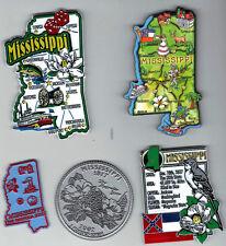 MISSISSIPPI   STATE  MAP JUMBO  MAGNET 7 COLOR JACKSON GULFPORT BILOXI TUPELO