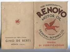 cartoncino RENOVO motor oil DE BERTI Monza lubrificazione automobili moto
