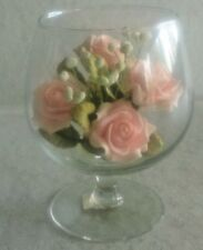Beautiful Pink Porcelain Rose Bouquet in Glass Snifter Vase
