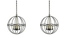 "PAIR ONDULER MODERN INDUSTRIAL INSPIRED XXL 22"" METAL PENDANTS CHANDELIER LIGHT"