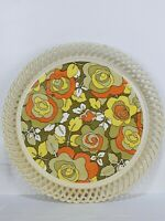 Vintage Plastic Round Floral Green Orange Print Serving Tray 50s 60s Deluxe Ware