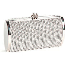 Silver Gold Crystal Diamante Effect Evening Clutch Wedding Party Prom Bag Box