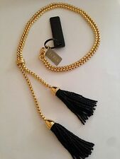 NWT J CREW 100% AUTHENTIC Shiny Gold/Black TASSEL LARIAT NECKLACE & Bag
