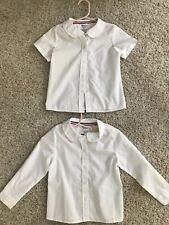 2 French Toast White Collared Shirts 1 Long,1 Short Sleeve - Girls Size 4