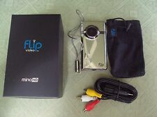 Flip F460C MinoHD Video Camera - Chrome, 4 GB, 1 Hour  TESTED AND WORKING