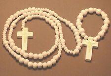 Rosary Wood Bead Gold Imprint Crucifix BONUS Bracelet Rosary WHITE Wow!