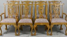 Set of 8 Solid Maple Chippendale Style Dining Chairs Claw and Ball Made in USA