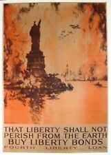 Original WWI poster - Pennell - That Liberty Shall Not Perish - linen backed