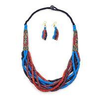 Fashion Buffalo Bone Beads Necklace Mosaic Brass Tribal Jewelry Ethnic Jewelry
