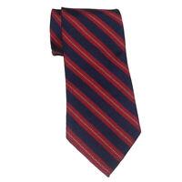 "Brooks Brothers Men Dress Silk Tie Red Blue Stripes 58"" long 3.75"""