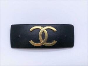 CHANEL Auth Black X Gold Leather COCO Mark Barrette Hair clip Used from Japan