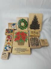 Vintage 90's Wooden Rubber Stamps Christmas Lot of 12