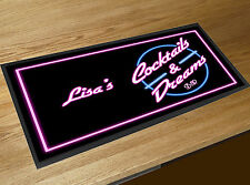 Personalised Bar runner Cocktails & Dreams 1980's Cocktail Partys Pubs & Clubs