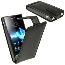 Black Leather Flip Case for Sony Xperia U ST25i Android Cover Holder Bumper