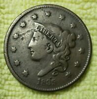 REDUCED!!!     1835 LARGE CENT SM 8 SM STARS  FINE CONDITION!