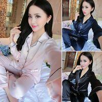 Fashion Mens Women Silk Satin Pajamas Pyjamas Set Sleepwear Loungwear Robes