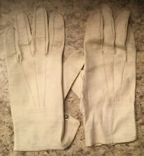 Vintage Ivory Leather Gloves w Snap Closure - M