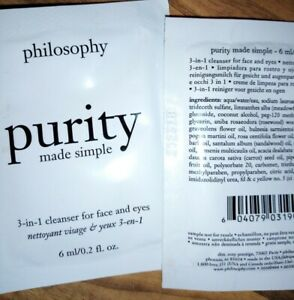 Philosophy Purity Made Simple 3 in 1 Facial Cleanser  2 x 6 ml Sample Sachets