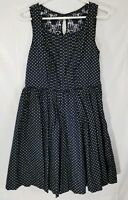 Aryeh Women's Vintage Style Navy Blue Dress With Yellow Polka Dots Size Medium
