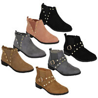Ladies Chelsea Boots Womens Biker Suede Look Studded High Ankle Zip Buckle Shoes