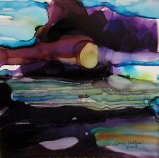 "Seascape 5x5"" boat sky original  painting by Lynne Kohler"