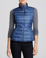 NEW $495 Burberry London Women Granstead Blue Down Puffer Vest, Size L / Large