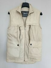 Barbour D77 Multipocket Gilet Waistcoat Bodywarmer Quilted Off- White Size XS