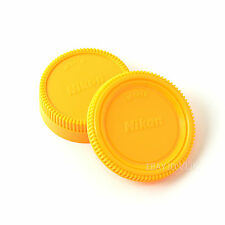 Yellow Color Camera Body Cover + Rear Lens cap for Nikon AI AF F