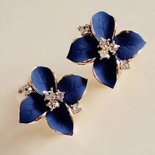 Pretty Blue And Gold Rhinestone Flower Crystal Earring Stud Earrings.15mm x 15mm