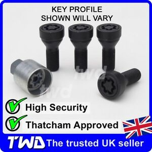 BLACK ALLOY WHEEL LOCKING BOLTS BMW 3-SERIES (2011+) F30 F31 SECURITY NUTS [Ke]