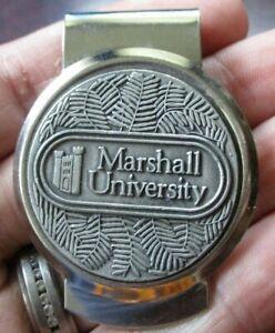 Vintage Marshall University Money Clip-Pewter Emblem-Free Shipping