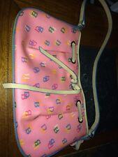 Dooney & Bourke Pink DB Logo Small Hobo Purse Handbag with bag tag Leather tan
