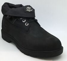 Timberland Mens Basic Roll Top Black Leather Boots UK 8.5 *