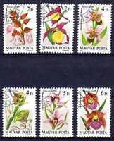 Flora - Orquideas Hungría (49) serie completo de 6 sellos matasellados