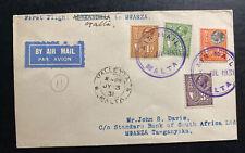1931 Malta First Flight Airmail Cover To Mwanza Tanganyika Imperial Airways
