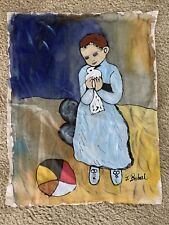 Hand Painted Signed J. Buberl (?) Child & Dove Painting On Silk Cloth TextileArt