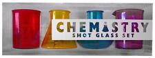 44502 CHEMISTRY LAB SCIENCE SHOT GLASSES NOVELTY SET OF 4 DRINKING SHOTS ADULT