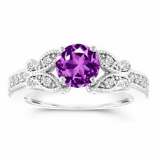 Amethyst Butterfly Engagement Ring, 1.18 Carat 14k White Gold Certified Handmade