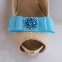 2 Turquoise Satin Bow Clips for Shoes with Flower Cluster & Diamante Centre