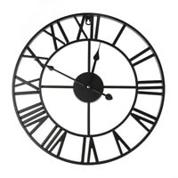 Large Outdoor Garden Wall Clock Big Roman Numerals Giant Open Hollow Metal 40cm
