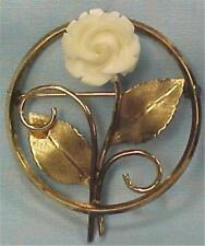 Vintage Circle Pin Carved Rose Cream Color Gold Filled 1960s