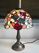 BLUE DRAGONFLY TIFFANY TABLE LAMP Multicoloured Glass Light Shade Metal Base