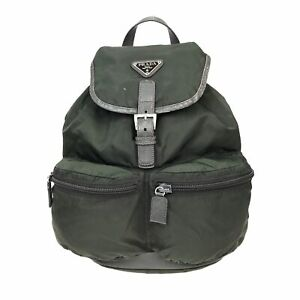 100% Authentic PRADA Nylon Backpack Green [Used] {08-204B}