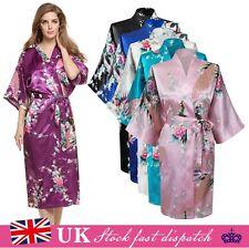 Lady Satin Japanese Peacock Kimono Dressing Gown Bath Robe Babydoll Nightwear