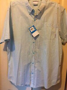 New Columbia Men's Short Sleeve Button Front Shirt 100% Cotton Checkered Size XL