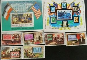1976 UPPER VOLTA SC.## 352-358,367A STAMPS + SOUVENIR SHEETS, USA BICENTENIAL